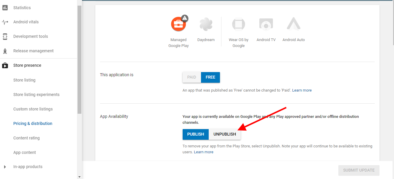 How to unpublish the android app from google play store