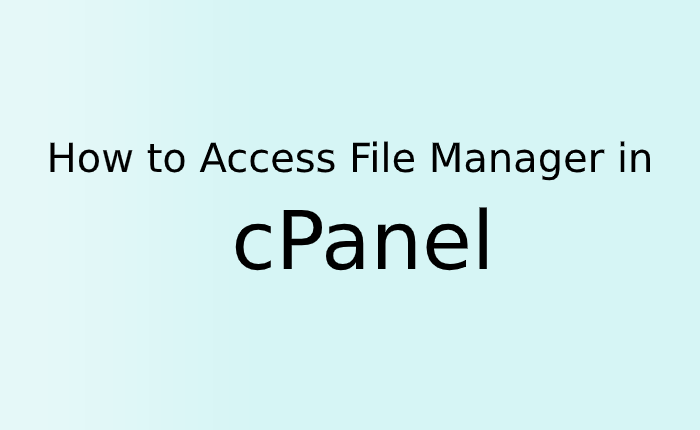 How to Access File Manager in cPanel