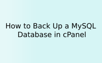 How to Back Up a MySQL Database in cPanel