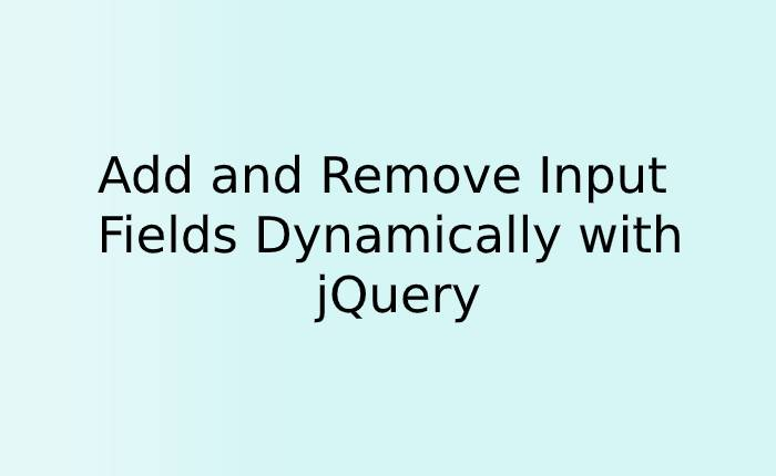 Add and Remove Input Fields Dynamically with jQuery
